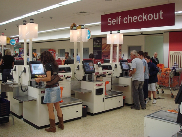 Self checkout using NCR Fastlane machines 9800b